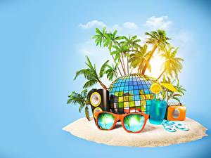 Обои Тропики Напитки Радио Остров Пальм Очки Стакане 3D Графика