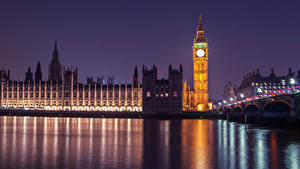 Фото Англия Речка Ночь Биг-Бен Лондоне Дворец Westminster Города