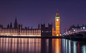 Фото Англия Река Ночь Биг-Бен Лондоне Дворец Westminster Города