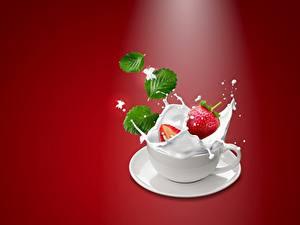 Картинка Ягоды Клубника Молоко Чашке С брызгами Пища