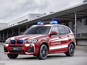 Фотографии БМВ Тюнинг Красный Металлик 2016 X3 xDrive20d M Sport Feuerwehr автомобиль