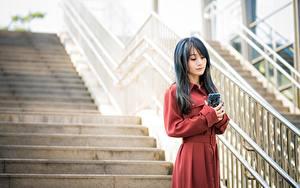 Фотографии Азиаты Боке Лестница Телефона девушка