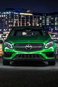 Фотография Мерседес бенц Спереди Зеленый 4MATIC GLA AMG Авто