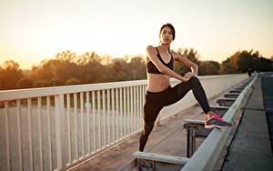 Обои Рассветы и закаты Фитнес Забором Руки Ноги Растяжка упражнение Позирует Девушки