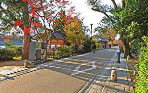 Фотография Япония Киото Здания Дороги Улица Города