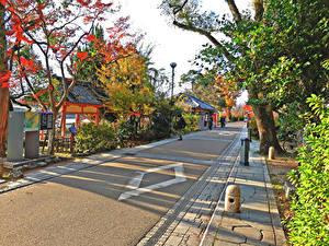 Фотография Япония Киото Здания Дороги Улица город
