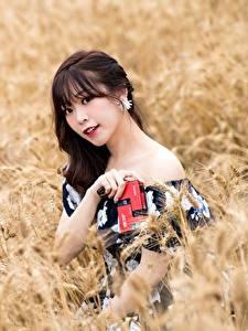 Фотография Поля Азиаты Боке Взгляд Брюнеток молодые женщины