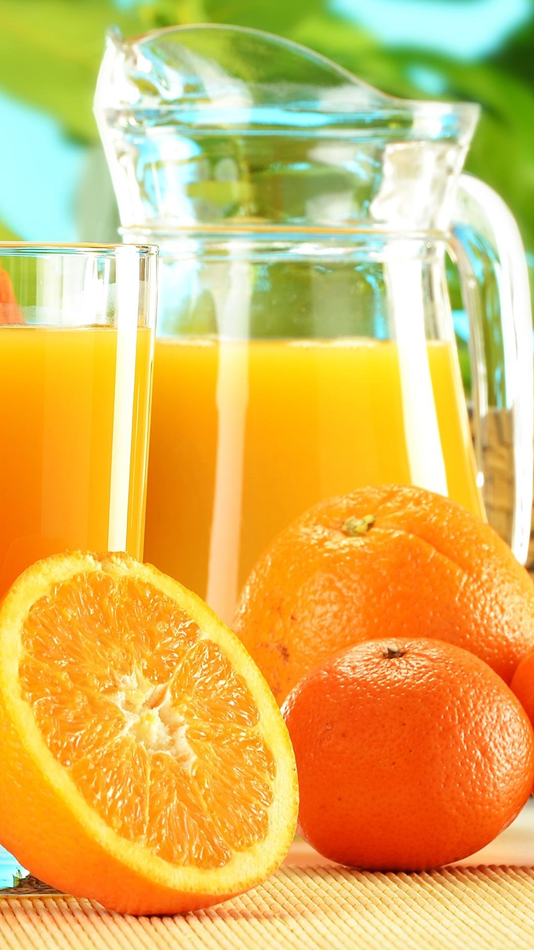 Обои для рабочего стола Сок Апельсин Мандарины Кувшин стакана Еда 1080x1920 Стакан кувшины стакане Пища Продукты питания
