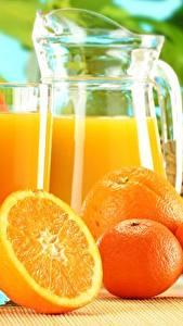 Обои Апельсин Мандарины Сок Стакан Кувшин Продукты питания