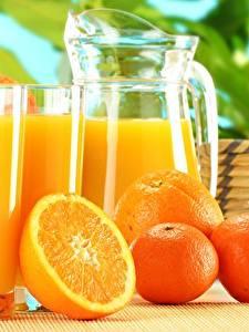 Обои Апельсин Мандарины Сок Стакане Кувшин Пища