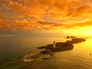 Обои Рассветы и закаты Остров Маяки Небо Nassau Bahamas