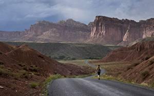Картинки Дороги Гора США Парки Бег Утес Каньоны Grand Canyon, Arizona, Colorado plateau Природа