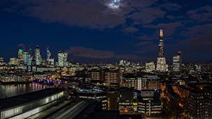 Обои Англия Дома Небо Лондон Ночные Луна Города
