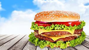 Картинка Фастфуд Гамбургер Овощи Доски Еда
