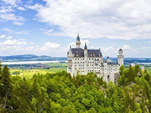 Фото Нойшванштайн Германия Замки Природа
