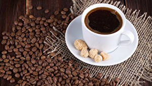 Картинки Кофе Чашка Сахар Зерна Еда