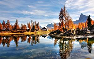 Фотографии Италия Озеро Осень Альп Дерева Dolomites Природа