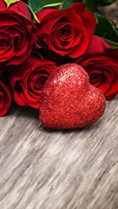 Фото День всех влюблённых Роза Доски Красный Сердечко Цветы