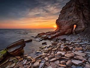 Фото Болгария Побережье Рассвет и закат Камни Скалы Black Sea coast