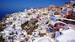 Картинки Греция Здания Сверху Santorini Города