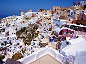 Картинки Греция Здания Сверху Santorini город