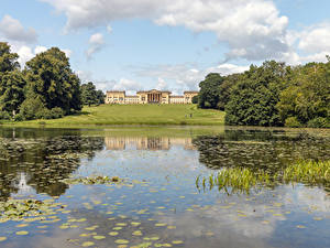 Картинка Англия Озеро Здания Парк Газоне Дерево Octagon Lake