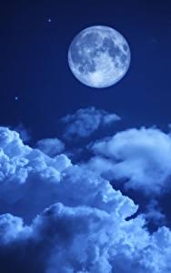 Фото Небо Ночные Луна Облака Природа