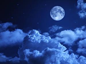 Фото Небо Ночь Луной Облачно Природа
