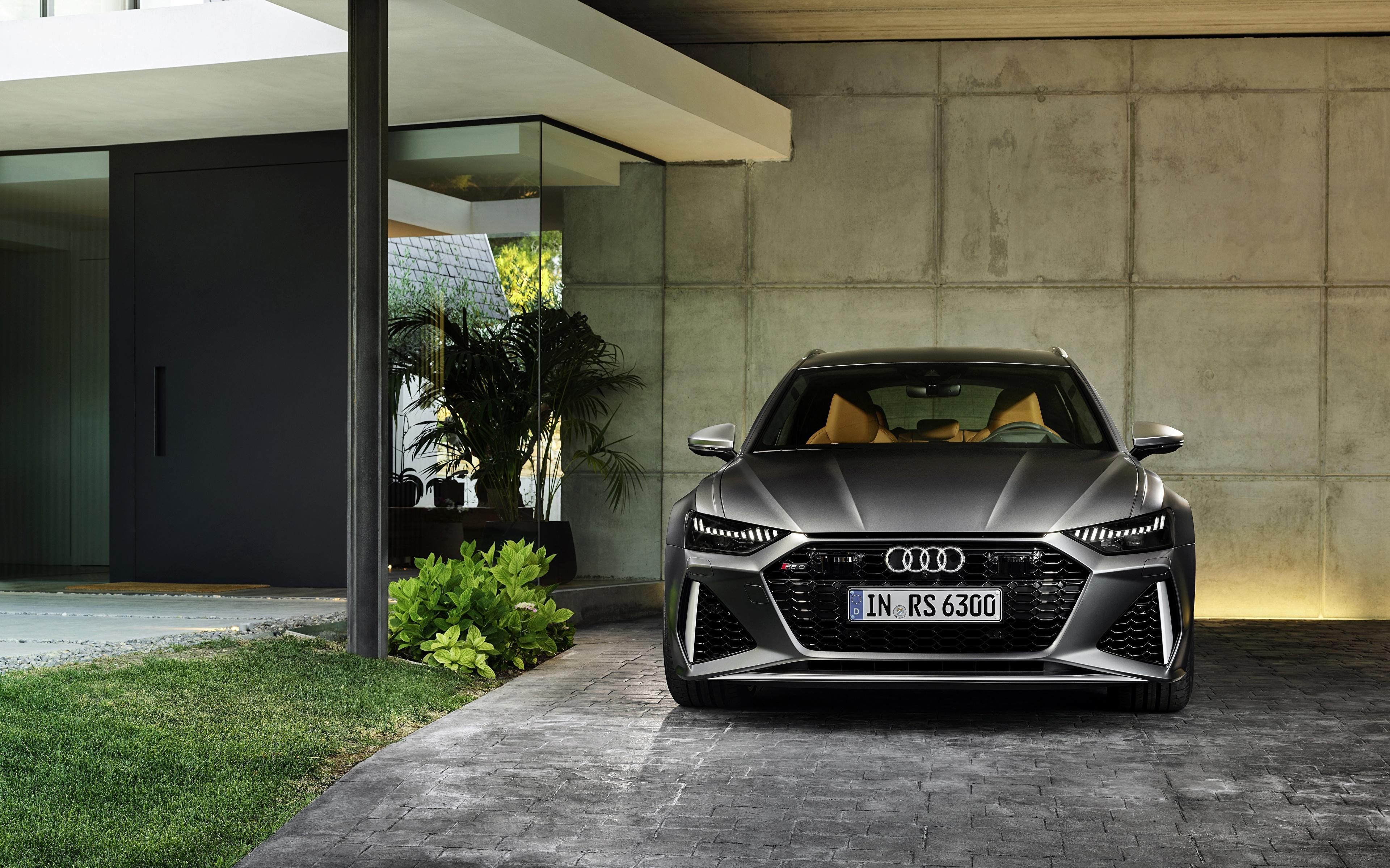Картинки Audi Универсал 2020 2019 V8 Twin-Turbo RS6 Avant серые машина Спереди 3840x2400 Ауди Серый серая авто машины автомобиль Автомобили
