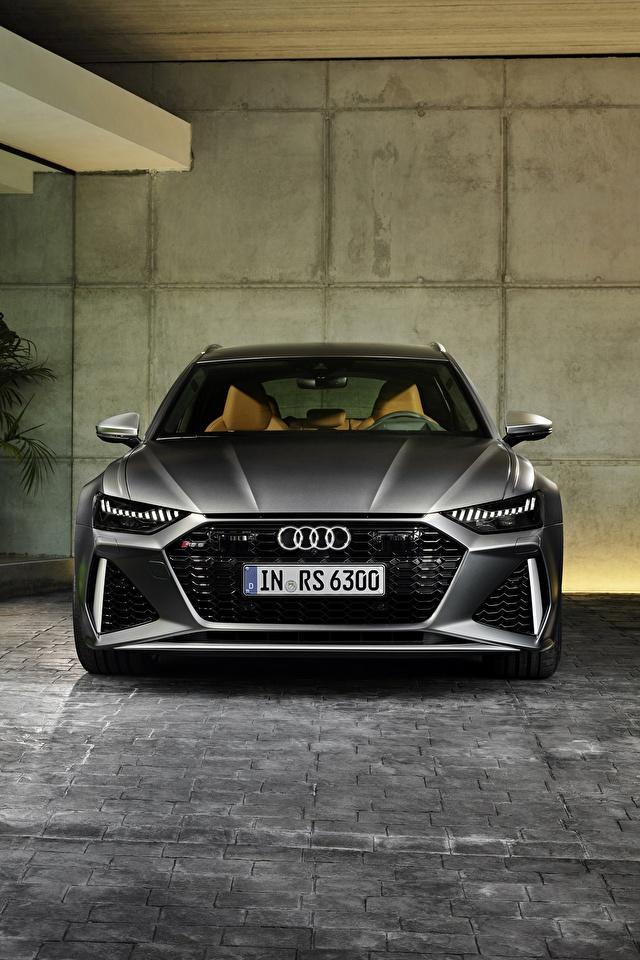 Картинки Audi Универсал 2020 2019 V8 Twin-Turbo RS6 Avant серые машина Спереди 640x960 для мобильного телефона Ауди серая Серый авто машины Автомобили автомобиль