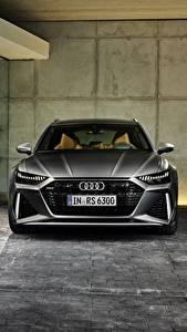 Картинки Audi Спереди Серые Универсал 2020 2019 V8 Twin-Turbo RS6 Avant авто