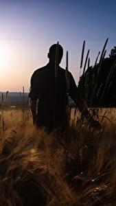 Обои Рассветы и закаты Поля Мужчины Силуэт