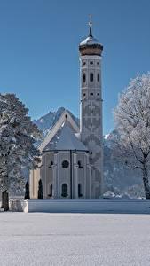 Картинки Зимние Церковь Храмы Германия Снег Альпы Бавария Деревья St. Coloman Schwangau Природа