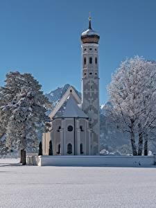 Картинки Зимние Церковь Храм Германия Снегу Альп Бавария Дерево St. Coloman Schwangau Природа