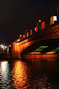Обои Москва Россия Речка Мосты Ночные Уличные фонари город