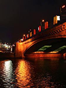 Обои Москва Россия Речка Мосты Ночные Уличные фонари Города