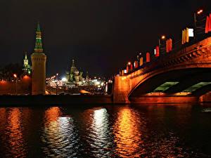 Обои Москва Россия Речка Мост Ночные Уличные фонари город