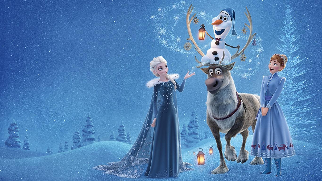 Обои для рабочего стола Холодное сердце Олени Elsa, Olaf, Anna мультик молодая женщина 1366x768 девушка Девушки Мультики Мультфильмы молодые женщины
