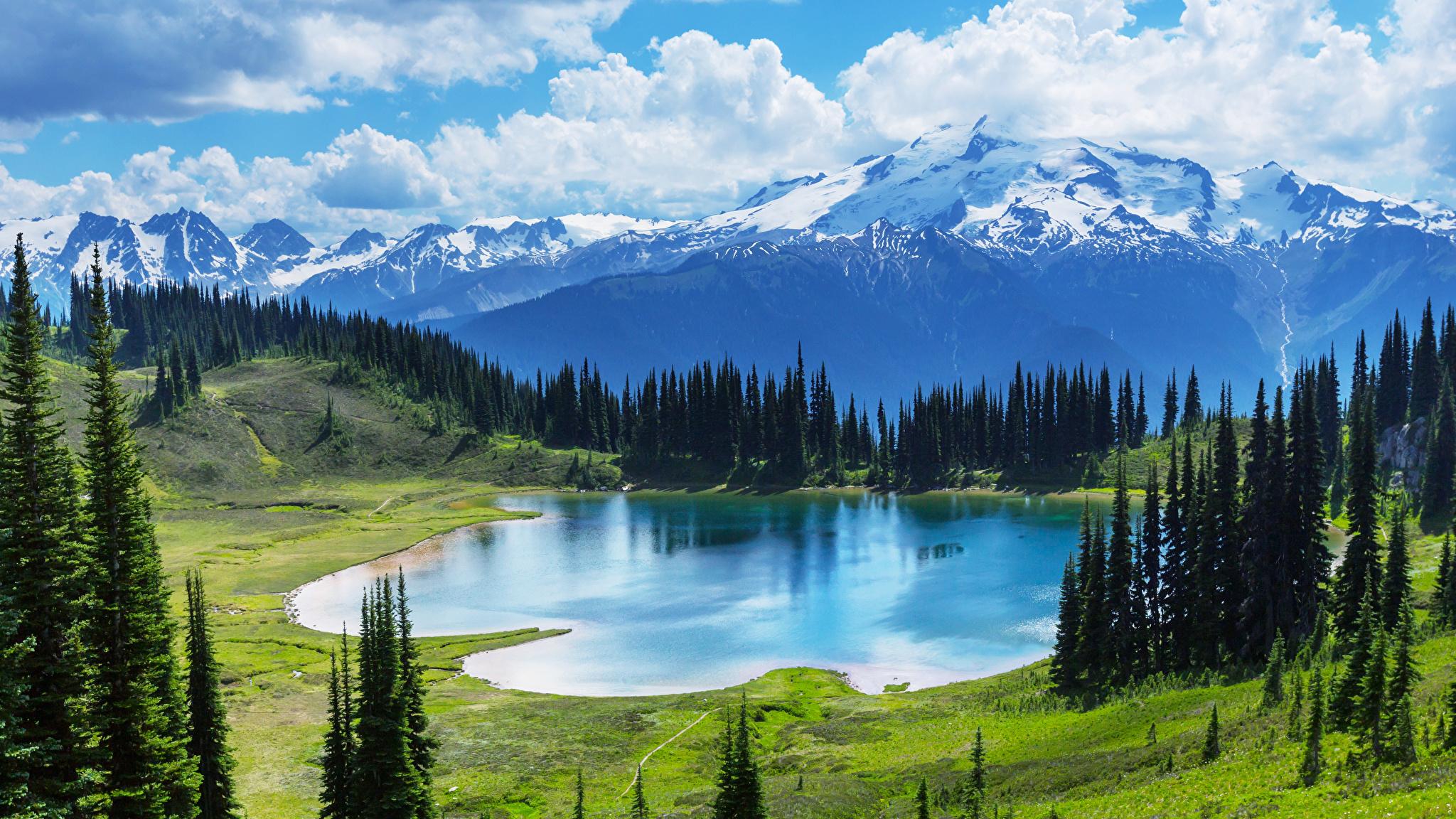 горы, небо, озеро, деревья смотреть