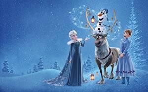 Обои Холодное сердце Олени Elsa, Olaf, Anna Мультики Девушки