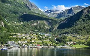 Фотография Норвегия Горы Леса Здания Пейзаж Снег Bergen, North sea