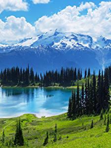Фотография Пейзаж Горы Озеро Луга Канада Банф