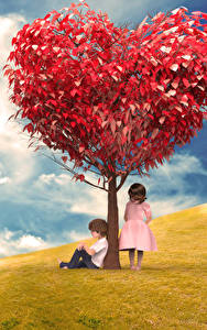Фотография Луга Любовь Деревья Серце Мальчишка Девочка Природа