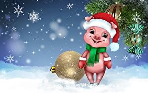 Фотографии Рождество Шар Снежинки Ветвь Шапки Шарф