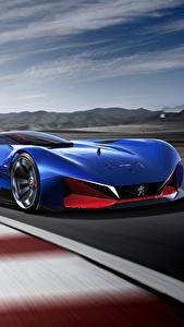 Фото Peugeot Синий Движение Гибридный автомобиль 2016 L500 R HYbrid Concept Автомобили