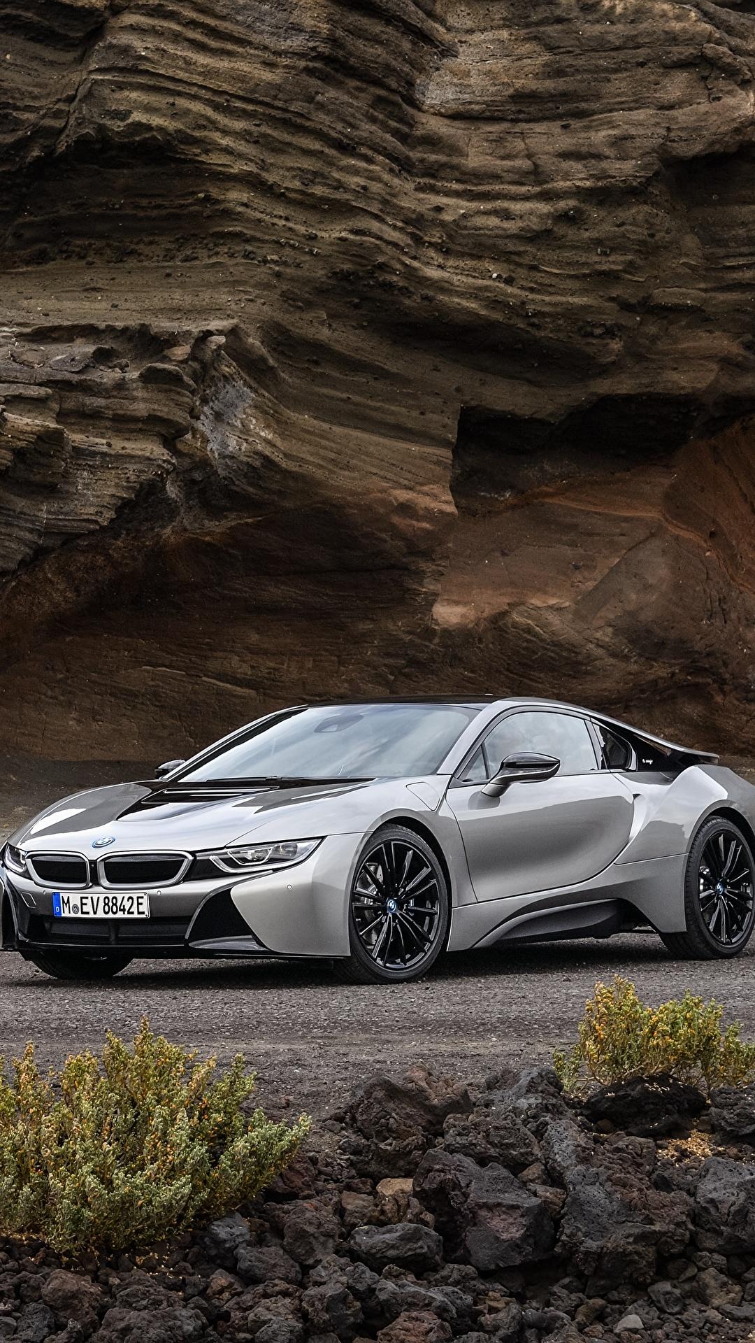 Картинки BMW 2018 i8 Купе серая Металлик автомобиль 1080x1920 для мобильного телефона БМВ серые Серый авто машина машины Автомобили