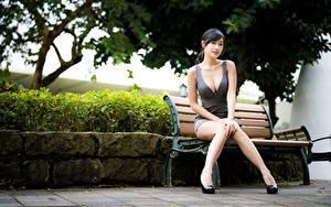 Фотографии Азиаты Ног Красивые Боке Скамья Брюнетки Сидит Декольте декольте Девушки