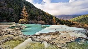 Фото Китай Горы Осень Леса Пейзаж Huanglong, Sichuan
