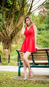 Обои для рабочего стола Азиатки Скамья Платья Красная Ног девушка