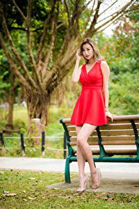 Обои Азиатки Скамья Платья Красная Ног девушка